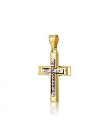 Σταυρός Βάπτισης για Κορίτσι Κίτρινο και Λευκό Χρυσό Κ14 με Πέτρες Ζιργκόν 016470