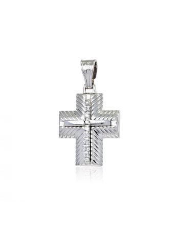 Σταυρός Βάπτισης για Κορίτσι Λευκό Χρυσό Κ14 με Πέτρες Ζιργκόν 017771