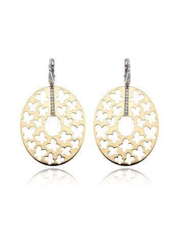 Σκουλαρίκια από Λευκό και Κίτρινο Χρυσό 14 Καρατίων με Πέτρες Ζιργκόν 017975