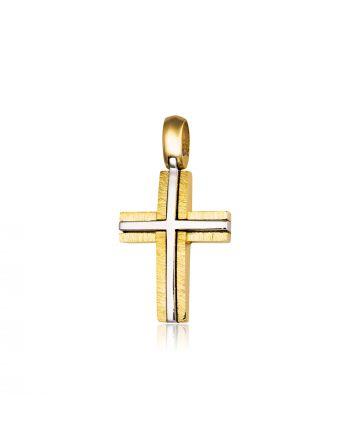 Σταυρός Βάπτισης Σκέτος για Αγόρι Κίτρινο και Λευκό Χρυσό Κ14 021471