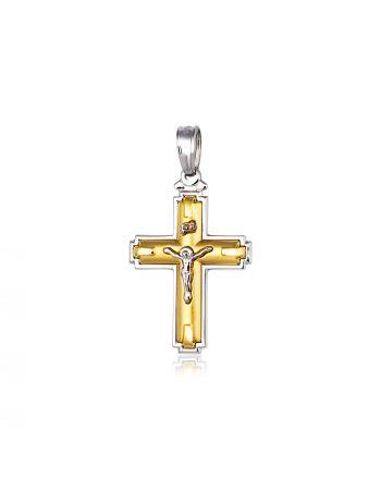 Σταυρός Βάπτισης Εσταυρωμένος για Αγόρι Κίτρινο και Λευκό Χρυσό Κ14 021491
