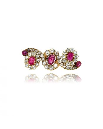Γυναικεία Vintage καρφίτσα με Ροζέτες από Ροζ Χρυσό Κ18 με Διαμάντια 021548