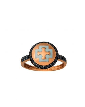 Δαχτυλίδι από Ροζ Χρυσό Κ14 με Πέτρες Ζιργκόν και Σμάλτο 021763