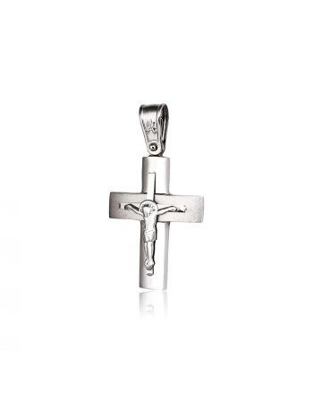 Σταυρός Βάπτισης Εσταυρωμένος για Αγόρι Λευκό Χρυσό 14 Καρατίων Κ14 022076