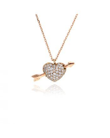 Μενταγιόν Καρδιά με Αλυσίδα από Ροζ Χρυσό 14 Καρατίων με Πέτρες Ζιργκόν 022255
