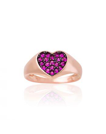 Δαχτυλίδι Καρδιά Σεβαλιέ  από Ροζ Χρυσό 9 Καρατίων με Πέτρες Ζιργκόν 022325
