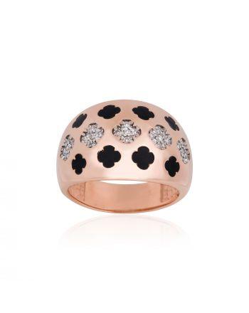 Δαχτυλίδι Σεβαλιέ από  Ροζ Χρυσό 9 Καρατίων Κ09με Πέτρες Ζιργκόν 022361