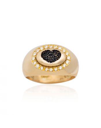 Δαχτυλίδι Σεβαλιέ με Καρδιά από Κίτρινο Χρυσό Κ9 με Πέτρες Ζιργκόν 022362