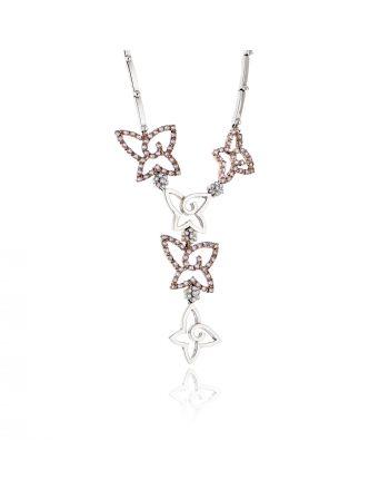 Κολιέ Γραβάτα Λευκό και Ροζ Χρυσό 14 Καρατίων (Κ14) με Πέτρες Ζιργκόν 022417