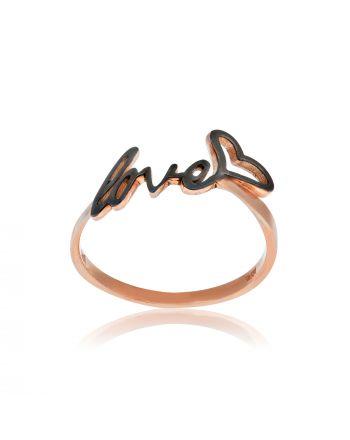 Δαχτυλίδι LOVE Ροζ Χρυσό 14 Καρατίων (Κ14) με Σμάλτο 023645