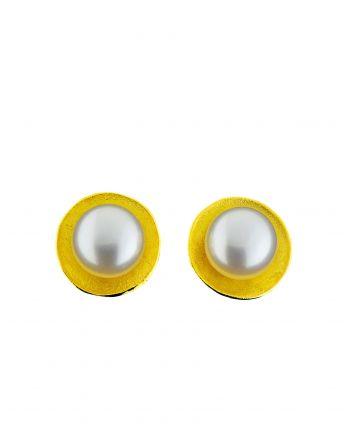 Σκουλαρίκια απο Κίτρινο Χρυσό Κ14 με Μαργαριτάρι 024458