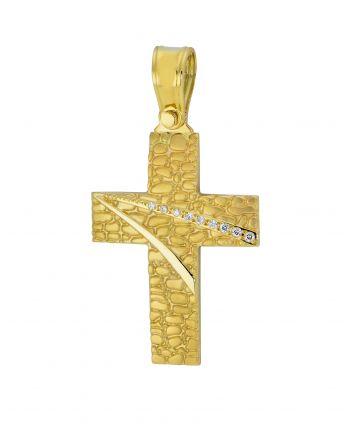 Σταυρός Βάπτισης για Κορίτσι Κίτρινο Χρυσό Κ14 με Πέτρες Ζιργκόν 025061