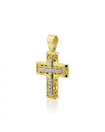 Σταυρός Βάπτισης για Κορίτσι Κίτρινο και Λευκό Χρυσό Κ14 με Πέτρες Ζιργκόν 025076