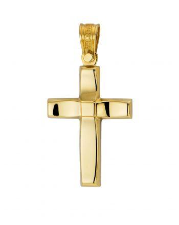 Σταυρός Βάπτισης Τριάντος για Αγόρι Σκέτος Κίτρινο Χρυσό Κ14 025105