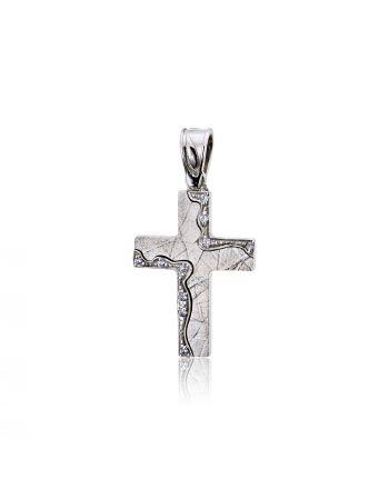 Σταυρός Βάπτισης ValOro για Κορίτσι Λευκό Χρυσό Κ14 με Πέτρες Ζιργκόν 025238