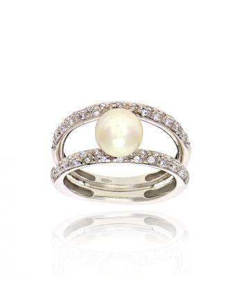 Δαχτυλίδι Λευκό Χρυσό 14 Καρατίων Κ14 με Ζιργκόν και Μαργαριτάρι 025702