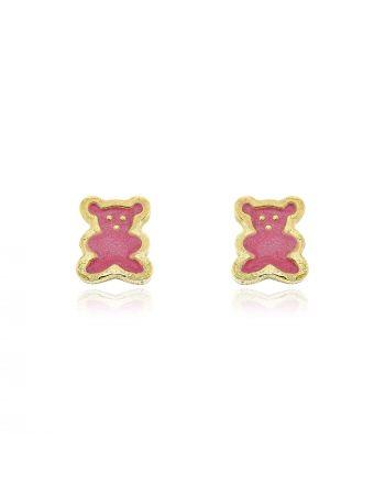 Παιδικά Σκουλαρίκια Αρκουδάκια από Κίτρινο Χρυσό Κ14 με Σμάλτο 025786