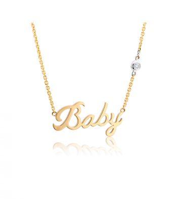 Κολιέ Baby από Κ18 Ροζ Χρυσό με Διαμάντι 026418