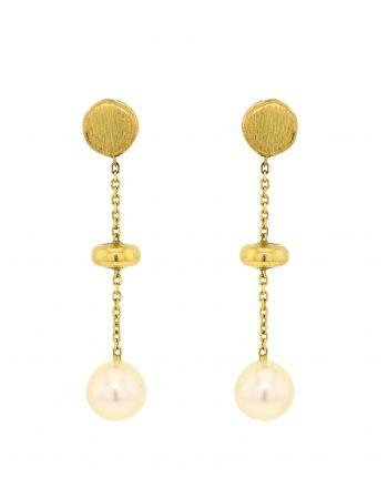 Σκουλαρίκια απο Κίτρινο Χρυσό Κ14 με Μαργαριτάρι 027096