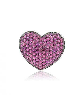 Μενταγιόν Καρδιά Ασήμι 925 με Ζιργκόν 028175