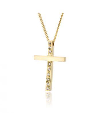 Σταυρός Βάπτισης ValOro με Αλυσίδα για Κορίτσι Κίτρινο Χρυσό Κ14 με Πέτρες Ζιργκόν 028604