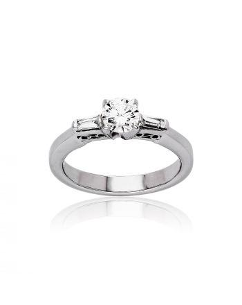 Μονόπετρο Δαχτυλίδι από Λευκό Χρυσό Κ18 με Διαμάντι 029453