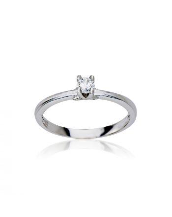 Δαχτυλίδι Μονόπετρο Λευκό Χρυσό 14 Καρατίων με Πέτρες Ζιργκόν 029721