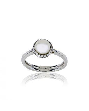 Δαχτυλίδι Ροζέτα Λευκό Χρυσό Κ14 με Πέτρες Ζιργκόν και Μαργαριτάρι 029850