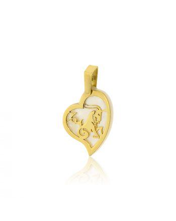 Μενταγιόν Ζώδιο Αιγόκερως Κίτρινο Χρυσό Κ14 πάνω σε Φίλντισι 030149