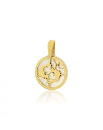 Μενταγιόν Ζώδιο Ιχθείς Κίτρινο Χρυσό Κ14 πάνω σε Φίλντισι 030152