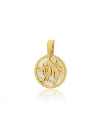 Μενταγιόν Ζώδιο Ταύρος Κίτρινο Χρυσό Κ14 πάνω σε Φίλντισι 030154