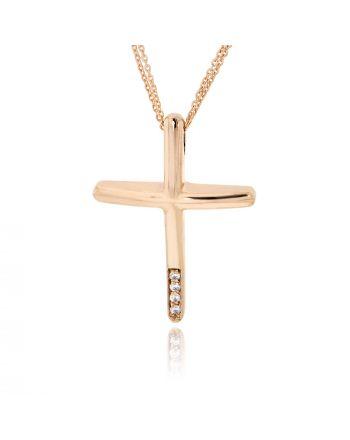 Σταυρός Βάπτισης ValOro για Κορίτσι Ροζ Χρυσό Κ14 με Πέτρες Ζιργκόν 030242