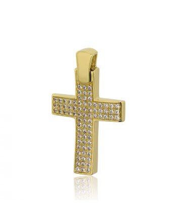 Σταυρός Βάπτισης για Κορίτσι Val΄Oro από Κίτρινο Χρυσό Κ14 με Πέτρες Ζιργκόν 030259