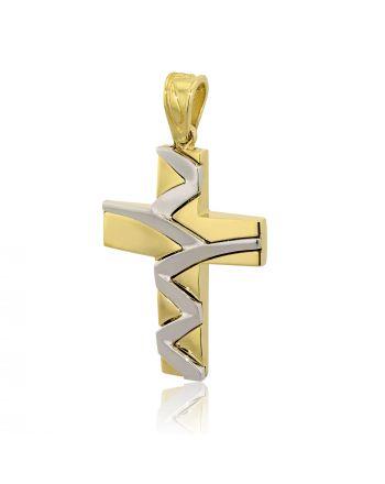 Σταυρός Βάπτισης Val΄Oro για Αγόρι Σκέτος Κίτρινο και Λευκό Χρυσό Κ14 030262