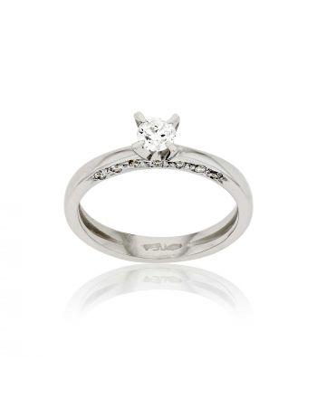 Μονόπετρο Δαχτυλίδι Val΄Oro Λευκό Χρυσό Κ18 με Διαμάντι Μπριγιάν 030275
