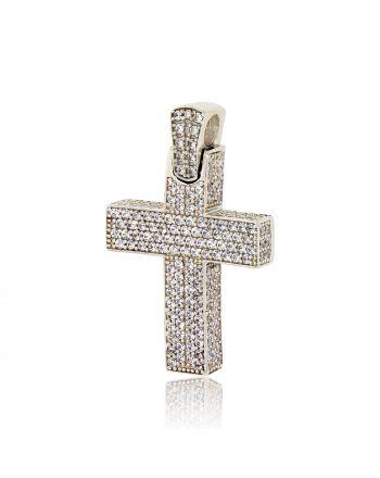 Σταυρός Βάπτισης Val΄Oro για Κορίτσι Λευκό Χρυσό Κ14 με Πέτρες Ζιργκόν 030279