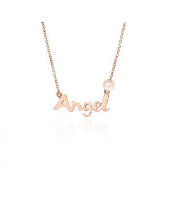 Μενταγιόν Angel με Αλυσίδα από Ροζ Χρυσό 9 Καρατίων Κ9 030653