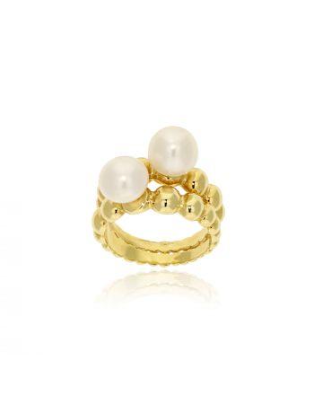 Διπλό Δαχτυλίδι Gabriela Rigamonti Κίτρινο Χρυσό Κ14 με μαργαριτάρια 030940