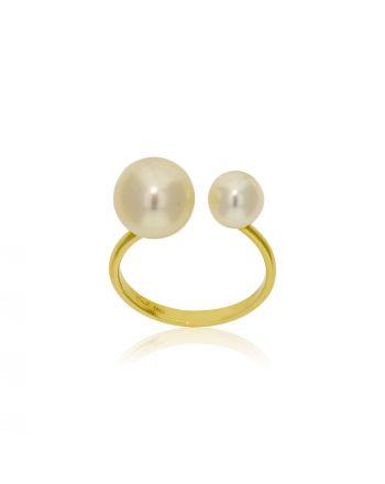Δαχτυλίδι Κίτρινο Χρυσό 14 Καρατίων Κ14 με Μαργαριτάρια 031109
