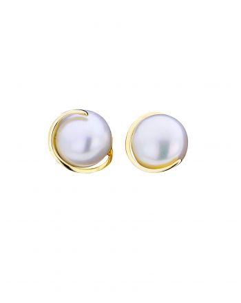 Σκουλαρίκια Μονόπετρα απο Κίτρινο Χρυσό Κ14 με Μαργαριτάρι 031483