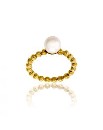 Δαχτυλίδι Κίτρινο Χρυσό 14 Καρατίων Κ14 με Μαργαριτάρι 031684