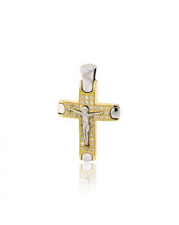 Σταυρός Βάπτισης Val΄ro για Κορίτσι Κίτρινο Λευκό Χρυσό Κ14 με Πέτρες Ζιργκόν 031878