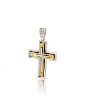 Βαπτιστικός Σταυρός Val΄Oro για Αγόρι Σκέτος Κίτρινο και Λευκό Χρυσό Κ14 031901