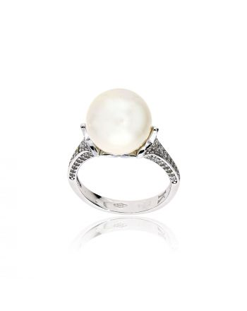 Δαχτυλίδι Λευκό Χρυσό 14 καρατίων  Κ14 με Μαργαριτάρια και Ζιργκόν 032418