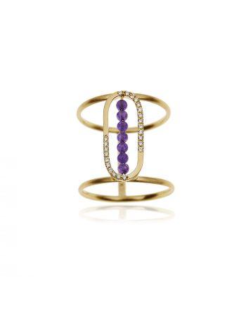 Δαχτυλίδι KK Jewelry Lab Κίτρινο Χρυσό Κ18 με Διαμάντια και Ιαδεϊτη 1094