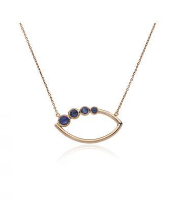 Μενταγιόν Μάτι με Αλυσίδα KK Jewelry Lab Ροζ Χρυσό Κ18 με Ζαφείρια 1461