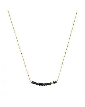 Μενταγιόν με Αλυσίδα KK Jewelry Lab Κίτρινο Χρυσό Κ18 με Μπλε Ζαφείρια 8303