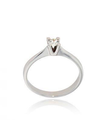 Μονόπετρο Δαχτυλίδι από Λευκό Χρυσό 18 Καρατίων με Διαμάντι Μπριγιάν LR057