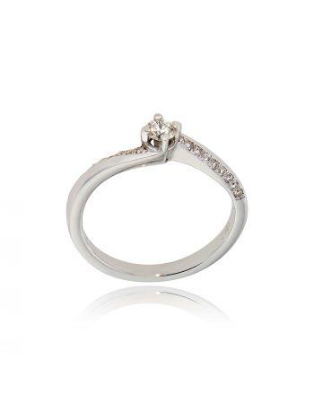 Μονόπετρο Δαχτυλίδι Λευκό Χρυσό 18 Καρατίων Κ18 με Διαμάντια ENG110