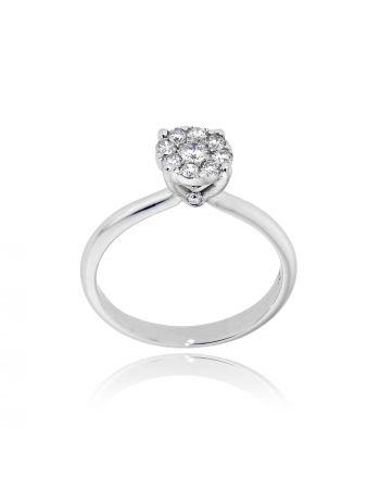 Μονόπετρο Δαχτυλίδι Diamond Jools από Λευκό Χρυσό Κ18 με Διαμάντι EM013